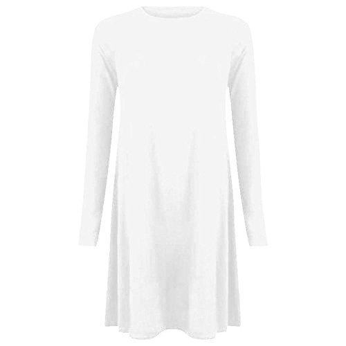 Nuovo da donna tinta unita A maniche lunghe elasticizzato lük Skater A punta Swing vestito Top 8-22 White