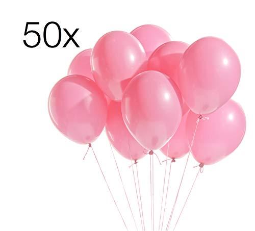 ler 50x Luftballons Ø 35 cm Luftballon Ballons Balloons Luftballon Ballon rosa Latexballons für Helium und Luft (rosa) ()