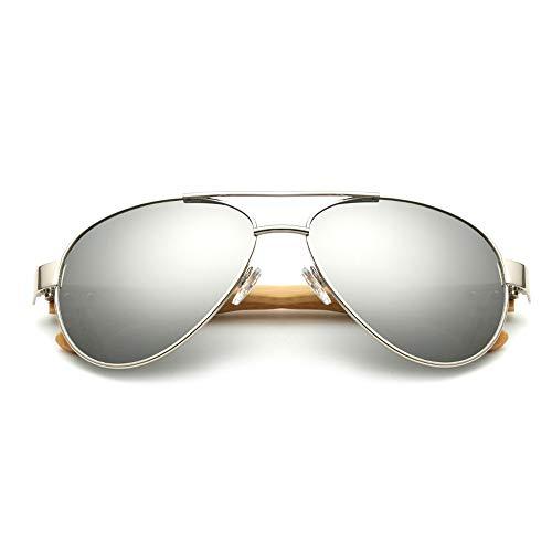 Hjbh123 HJBH Sonnenbrille XHM-51 Natürliche Handgemachte Bambus Beine Männer Und Frauen Brille Outdoor Beach Break Uv400 Schutz Sonnenbrille - (DREI Farben Optional) (Color : Silver)