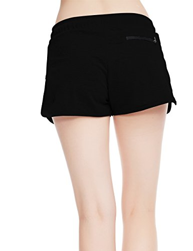 icyZone® Femmes Casual Shorts Sweatshorts en vrac coton fendus taille elastique Shorts Black