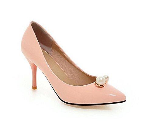 Solide Runde Zehe Plattform (DamenschuheWomen 's Court Schuhe Dünn mit High - Heeled Shallow Mund spitzen Zehe Metall Solide Schuhe , pink , 38)