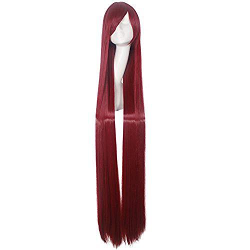 g mit Pony 60 Zoll rote Farbe Kunsthaar Hochtemperaturfaser für Cosplay Perücken ()