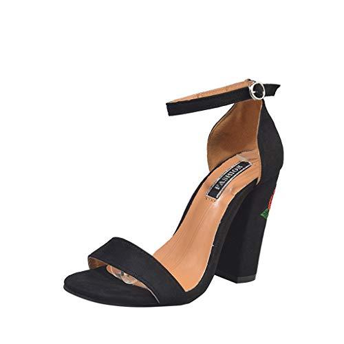 Dorical Damenschuhe Sandalen Wildleder Sandaletten Pumps mit Blockabsatz und Rose Blume Muster - High Heel Schuhe Peep Toe Schnalle Sandalen & Sandaletten Schuhe Elegant Party-Schuhe(Schwarz,38 EU)