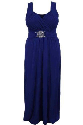 Saphir Femmes Buckle Taille Haute Attache Dos Grande Taille Soirée Long Maxi Robe De Dames Blu reale