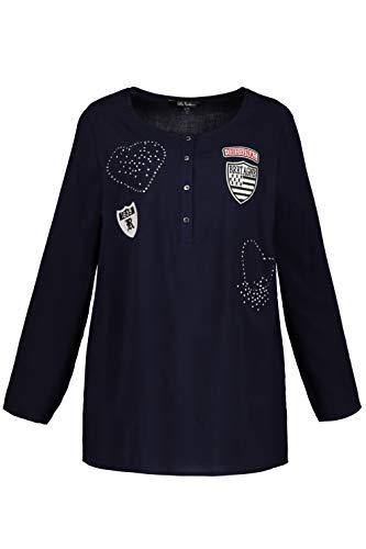 Ulla Popken Große Größen Damen Bluse Shirtbluse mit Knopfleiste und Patches, Blau (Dunkelblau 70), 44 (Herstellergröße: 42+)