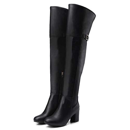 YOMO Damen Sexy Hohe Stiefel Overknees Oberschenkel Hoch Damen Reißverschluss Blockabsatz Mid Heel Stiefeletten,Black-EU:37=6.5B(M) US