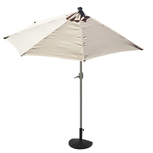 Mendler Sonnenschirm halbrund Parla, Halbschirm Balkonschirm, UV 50+ Polyester/Alu 3kg ~ 270cm Creme mit Ständer