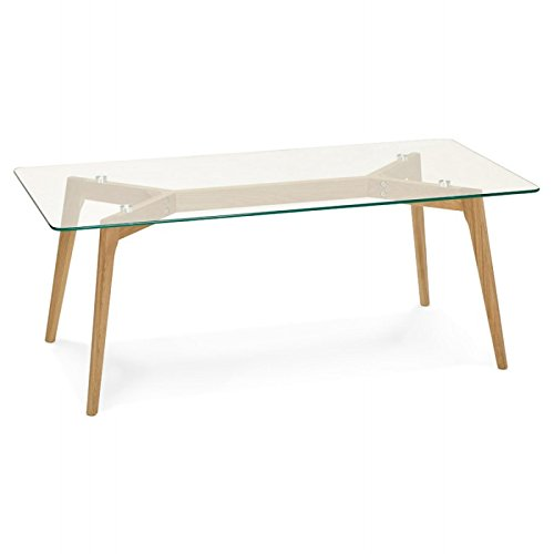MK Table Basse rectangulaire Style scandinave Henna en Verre et chêne (Transparent)