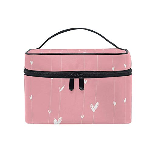 Portable White Hearts On Lines Travel Cosmetic Bag