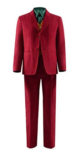 Qian Qian Herren Ritter Joker Cosplay Kostüm Halloween Anzug Hemd Weste Hosen Komplett Set Outfits (S, Stil 3) (Joker Kostüm Outfit)