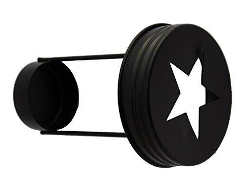 icht Kerzenhalter Deckel für Regular Mouth Mason, Ball, Canning Gläser (3Pack), Stahl, schwarz, Reg Mouth ()