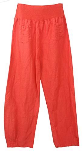 Vexcon Damen Hose/Leinenhose aus luftigem angenehm zu tragendem Leinen, bequemer Schnitt, Gummibund, 2 aufgesetzte Taschen vorne, Größen S - 5XL, Made in Italy (Plus-size-leinen-hose)
