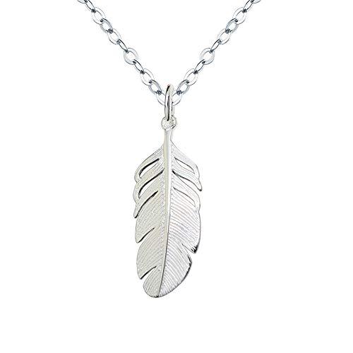 Damen Kette 925 Sterling Silber Halskette mit Feder Anhänger Ketten lang 40+5 cm für frauen