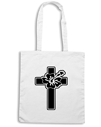 T-Shirtshock - Borsa Shopping FUN1100 cross hawaiian flower sticker 56939 Bianco