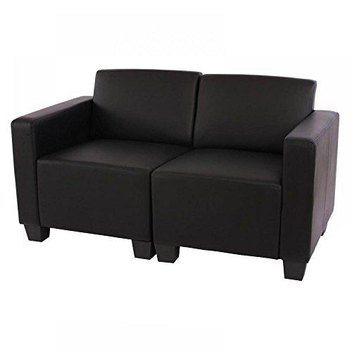 Mendler Canapé 2 Places Lounge/Salon Lyon, modulable, Simili-Cuir, Noir