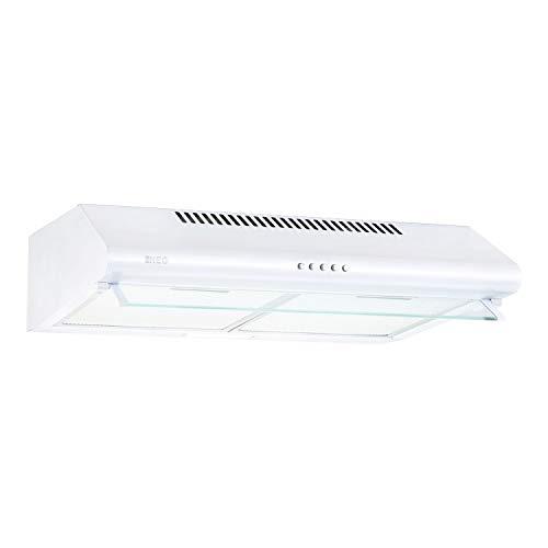 NEG Dunstabzugshaube NEG15-ATRW (weiß) Edelstahl-Unterbau-Haube (Abluft/Umluft) und LED-Beleuchtung (60cm) Unterschrank- oder Wandanschluss