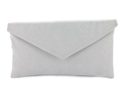 Loni Neat Umschlag Faux Wildleder Clutch Bag/Schultertasche in schwarz Sehr hellgrau