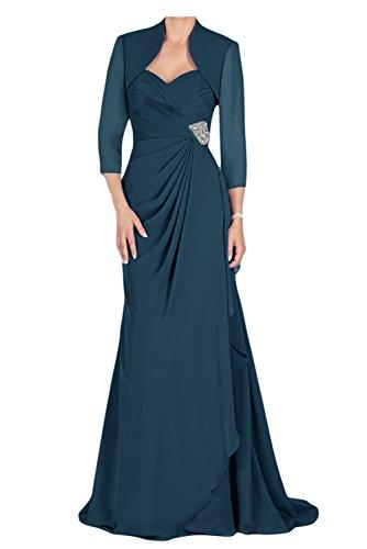 Gorgeous Bride Modisch Traegerlos Lang Etui Chiffon Mit Bolero Brautmutterkleider Abendkleider Ballkleider Inkblau