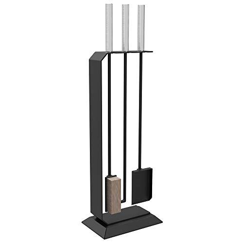 Design Kaminset Besteck Garnitur 3 teilig Kamin und Ofen Zubehör C3 schwarz