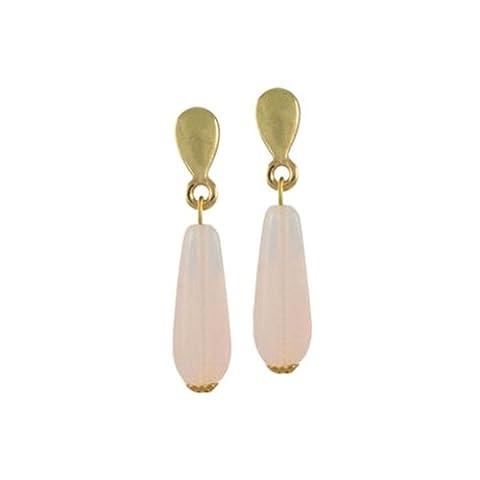 Light Pink Opal Glass Teardrop Gold Drop Clip On Earrings