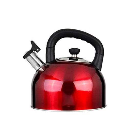Gaz naturel bouilloire à gaz 304 en acier inoxydable sifflet ménage grande capacité cuisine épaissie bouteille d'eau chaude WHLONG (Couleur : Rouge, taille : 5L)
