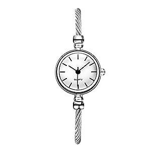 Hffan Damen Retro Mode Stahlbanduhr Rund Uhr mit Strass Quarzuhr Frauen Freizeituhr Tabelle Handschmuck Armband Uhren Damenuhr