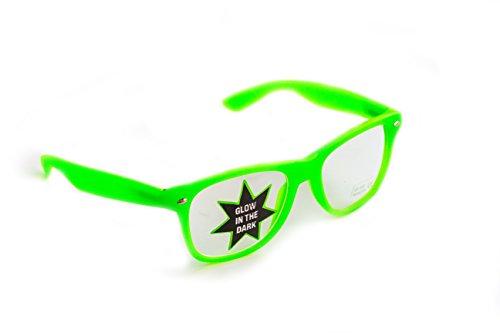 Party-Brille grün leuchtet im Dunkeln Damen Herren Panto-BrilleDesign-Brille Nerd-Brille...