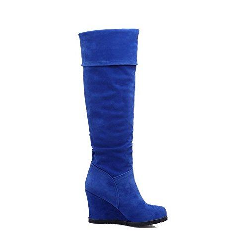 VogueZone009 Donna Puro Pelle Di Mucca Tacco Alto Tirare Punta Tonda Stivali con Metallo Azzurro
