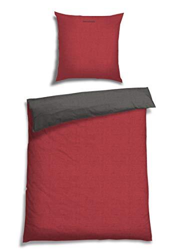 Schiesser Renforcé Bettwäsche Doubleface rot - anthra / 2-teilig / 100{2d67b09d33fb0a89d5e828a694c87bf5d1d555c7ed0fc3662d2cdd237d8f28ca} Baumwolle / versch. Größen erhältlich, Größe:135 x 200 cm + 80 x 80 cm