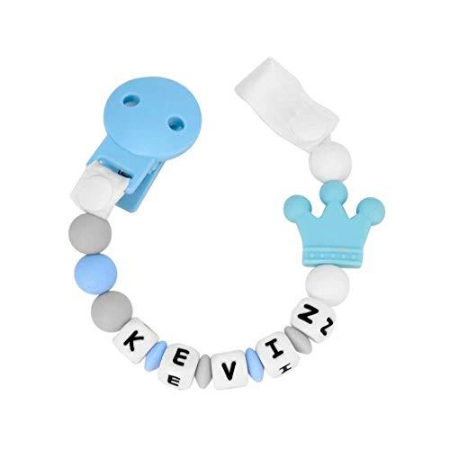 RUBY - Schnullerkette silikon, personalisierter baby-schnuller mit krone, antibakterielles silikon mit kunststoff clip (Blaues Pastell)