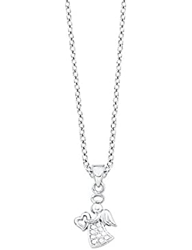 s.Oliver Kinder-Kette Teenager Mädchen Schutzengel Engel mit Herz-Anhänger 925 Sterling Silber rhodiniert