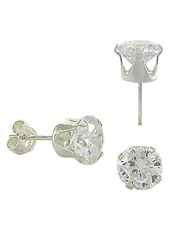 NIDABI For Men Ohrstecker CZ Circle 925 Sterling Silber 5 mm ST10112R (Ohrringe Männer Echt Silber)