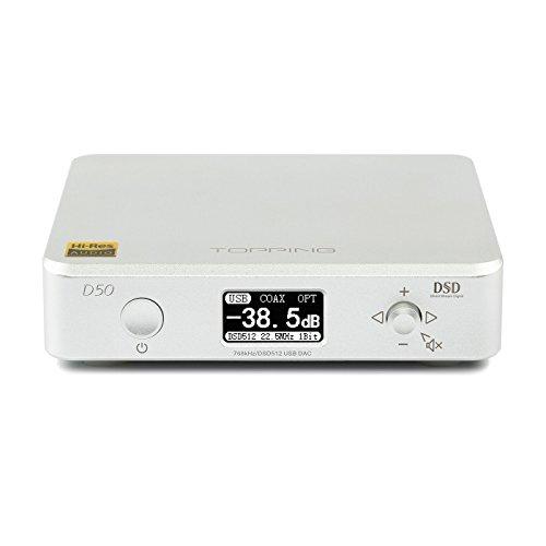 TOPPING D50 HIFI Audio DAC ES9038Q2M2 XMOS XU208 DSD512 Decodificatore USB 32Bit / 768KHz DSD512 (Argento)