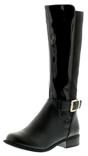 Mädchen langes Bein Mode Stiefel peatures Patent und A PU Ober, mit einer Schnalle zu dem Seite Reißverschluss für leichter an / über - schwarz - UK Größen 1-13 - Schwarz, 37 -
