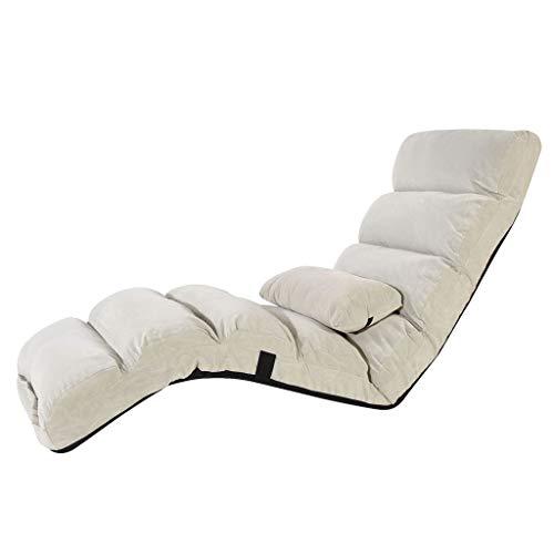 Floor Chair, Faltbare Lazy Couch Tatami Einzelner Stuhl Schlafzimmer Erker Lounge Sessel, Lesezeitung/Freizeit (Farbe : Weiß, größe : 175cm*56cm*20cm) -