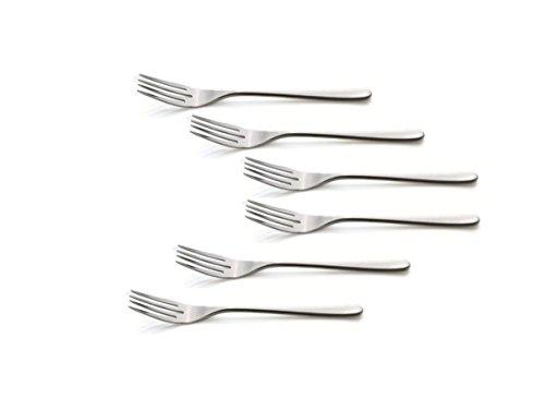 Kerafactum® - 6 Gabeln Fischgabel Fisch Gabel Set Speisegabel Speisen Tafelgabel Besteck Edelstahl das Designset Liselle ist erweiterbar - fish fork