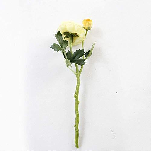 QYYDGH Retro Elegante schöne 2 Köpfe Seide Künstliche Blumen Weiß Rosa Champagner Gefälschte Lotusblumen Schöne Rose Real Touch Hochzeit Dekoration Kranz gelb -