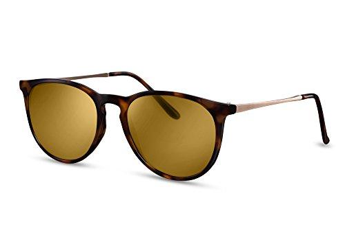 Cheapass Sonnenbrille Rund-e Braun-e Designer-Brille Leo-Print Metall-Rahmen UV-400 Lichtschutz Damen Herren