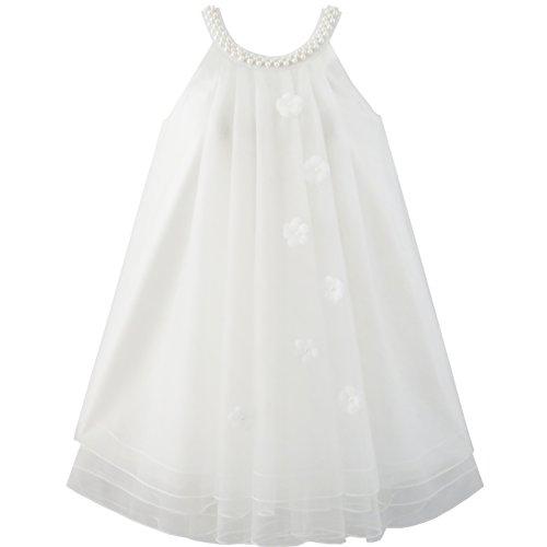Mädchen Kleid Blume Halfter Kleiden Perle Hochzeit Gr. 122 (Halfter Weiß Kleidung Kleid)