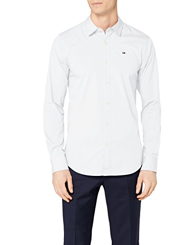 Tommy Hilfinger Denim Original Stretch Shirt l/s, Camisa para Hombre, Blanco (Classic...