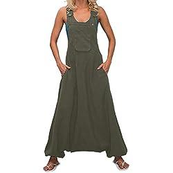 STRIR Mujer Baggy Peto de Pantalones Largos Gasa Mono Harem Anchos Talla Grande Casual Moda Bolsillos Tiras Fiesta (XXL, Verde)