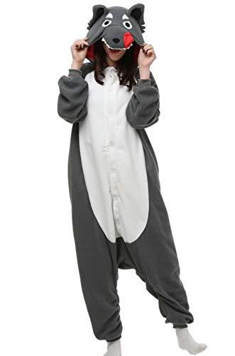 Unisex Kigurumi Jumpsuit Tier Pyjamas Kostüm Fasching Onesie Damen Herren Karneval Cosplay Nachtwäsche, Grau Wolf