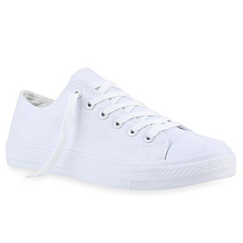 Herren Sneakers Freizeit Sport Schnürer StoffFitness Streetstyle viele Farben Schuhe 139977 Total Weiss 45 | Flandell®