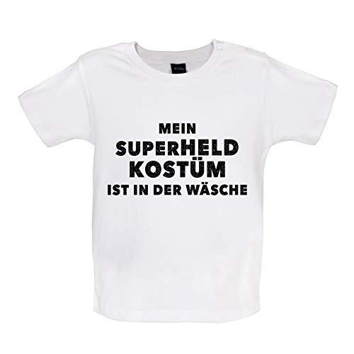 Monat Kostüm 12 Superhelden 18 - Mein Superheld Kostüm Ist in Der Wäsche - Witziges Baby T-Shirt - Weiß - 12-18 Monate