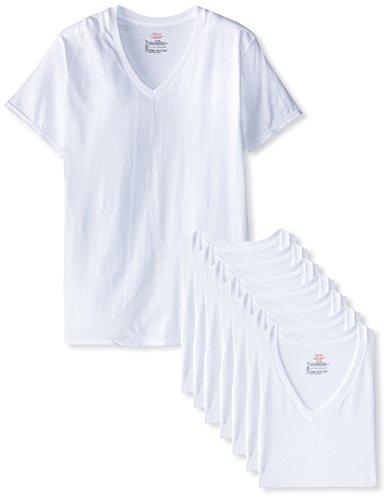 Hanes Ultimate Herren T-Shirt V-Ausschnitt 8er Pack - Weiß - Small (Hanes Unterhemd V-ausschnitt)