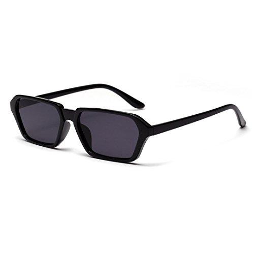 SuperSU Retro Kleine Quadratische Sonnenbrille Männer und Frauen Unisex Square Frame Integrierte UV-Brille Mode Sunglasses Sonnenbrillen Big Frame Style Frau Eyewear (Schwarz)