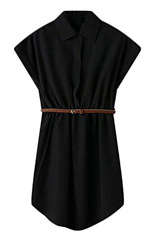 Shirtkleider Damen Kurz Sommer Kurzarm Maxi Elegant Irregular Revers Kleider Single-Breasted Nahen Taille Freizeitkleid Schwarz