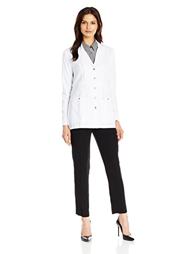 Dickies Women's Xtreme Stretch 28 inch Snap Front Lab Coat, White, X-Small (Front Dickies-snap)