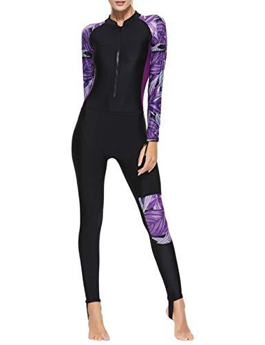 besbomig Damen Ganzkörperansicht Badeanzug Overall Surfanzug Lange Ärmel Tauchanzug - Strand Watersport UV Schutz Schwimmanzug, Nicht die Neopren