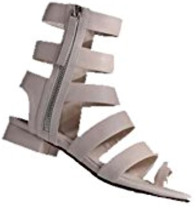 SHINIK Zapatos de mujer europeos y americanos botas de caña larga de punta abierta Moda de verano cuero alta de...